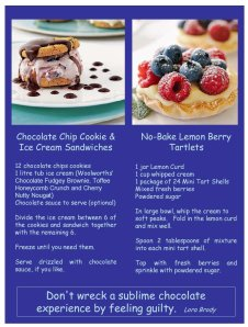 Chocolate Chip Cookies and Ice Cream Sandwiches, and No-Bake Lemon Berry Tartlets