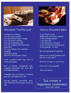 Chocolate Truffle Loaf, and Cherry Chocolate Bars