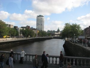 Crossing O'Connell Bridge