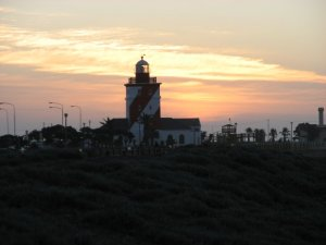 The sun sets on the Green Point Lighthouse
