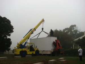 Lifting the container off the truck