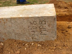 Cement blocks with engraved dates