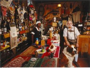 German barman with St Bernard