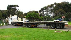 The 22-metre-long truck arrives