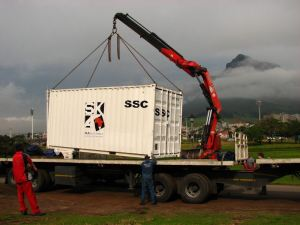 Lowering the SSC onto the large trailer