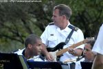 WO1 Laurence Markus playing a few riffs on the electric guitar