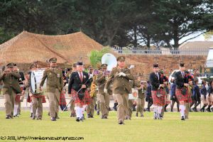 Led by Drum Major WO2 André van Schalkwyk (Army Band) and Drum Major WO2 Steve Leibbrandt (Pipes and Drums)
