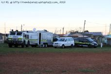 The South African Police Service and the Public Order Police have set up a venue operations centre on the field outside the Community Hall