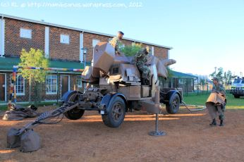 The soldiers of Cape Garrison Artillery skilfully set up their Oerlikon 35 mm anti-aircraft cannon with great precision and teamwork