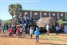 Members of the public clamber excitedly all over the Rooikat armoured vehicle of Regiment Oranje Rivier – this is clearly one of the most popular displays