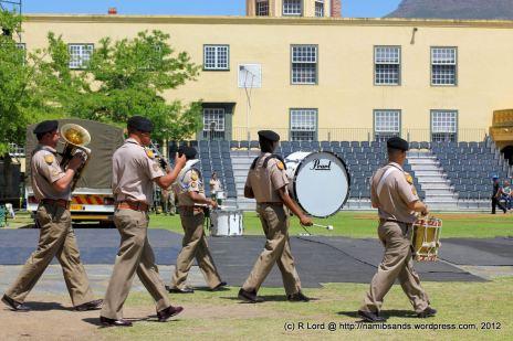 The SA Army Band Cape Town runs through their sequence of movements on the terrain