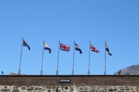 The flags on the Leerdam Bastion symbolise the various periods in the history of the Castle