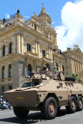 A Ratel vehicle from the Cape Town Highlanders brings up the rear
