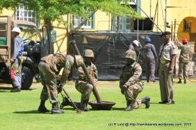 The teams go through the mortar run