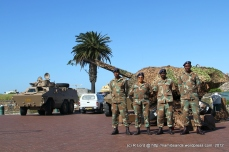 Cape Garrison Artillery posing in front of their anti-aircraft cannon
