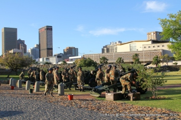 The Saluting Troop of Cape Field Artillery is testing the rounds for that night's performance