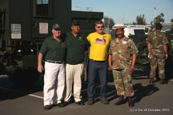 Lieutenant Colonels Bryan Sterne and Ralph Wilkinson, of the Defence Reserves Provincial Office Western Cape, and Warrant Officer First Class G. Minnaar, of the Army Recruitment Office Cape Town, with Mr Dana Potgieter, the Risk Manager of Makro Montague Gardens.