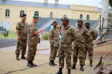 Lt Col Johan Conradie instructs the flagbearers