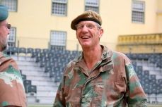 Sgt Major Boehme of 3 Electrical Workshop in a light-hearted moment
