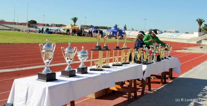The trophies sparkle in the sunshine, waiting to be handed out to the best schools in the various categories