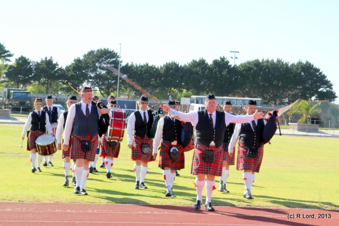 Here come the talented musicians of Cape Field Artillery Pipes and Drums
