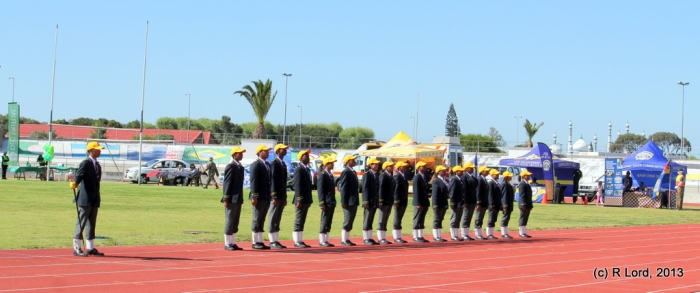 The squad from Portland High School forms the guard of honour