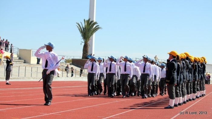 Imperial Primary School of Beacon Valley, Mitchell's Plain, saluting the VIPs and dignitaries