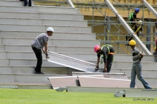 Building the seating stands one slab at a time