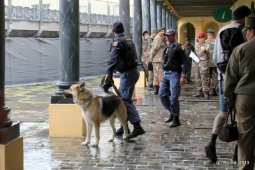 The K-9 unit arrives with Bolt, the sniffer dog