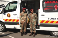 Captain Settie Diergaardt of the South African Medical Health Services is always at his post, ready to provide medical support.