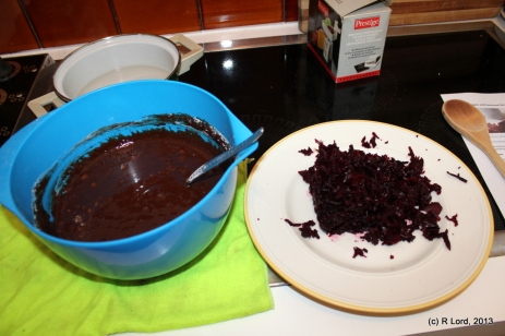 Throw in the grated beetroot, and stir until just mixed