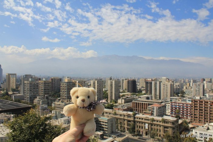 Edward T Bear looking out over Santiago, Chile - one his one and only, probably even only ever, trip overseas