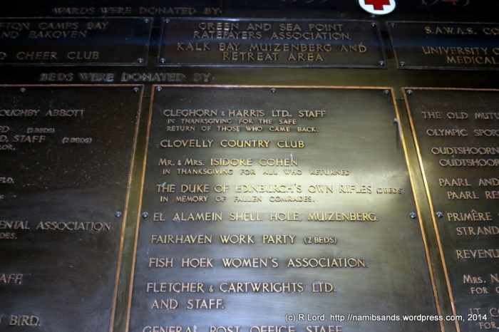 The Duke of Edinburgh's Own Rifles (now the Cape Town Rifles) are listed on the board of donors inside the Hospital