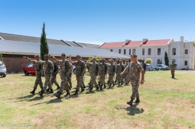 The Cape Town Highlanders are put through their paces by the RSM, MWO Alfie Wort