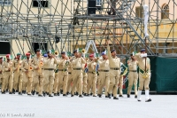 The Pakistan Army Band rehearses their routine on the arena