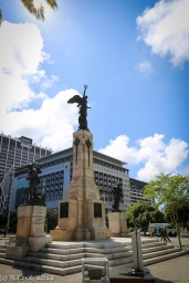 The Cenotaph in its new location, on the median of the Heerengracht in central Cape Town