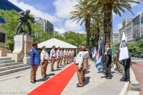 The silent guard line up on either side of the red carpet, next to the MOTHs standard bearers