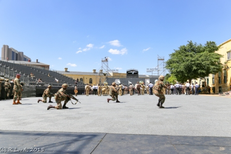 The paratroopers meanwhile continue their rehearsal in the midst of everything