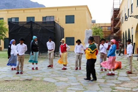 Riel Dancers practicing backstage