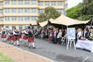 Led by Drum Major Bill White, the Cape Field Artillery Pipes and Drums