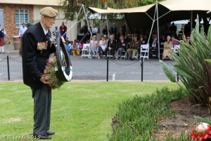 One of the veterans laying a wreath